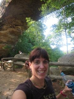 Standing under Natural Bridge, Red River Gorge Kentucky