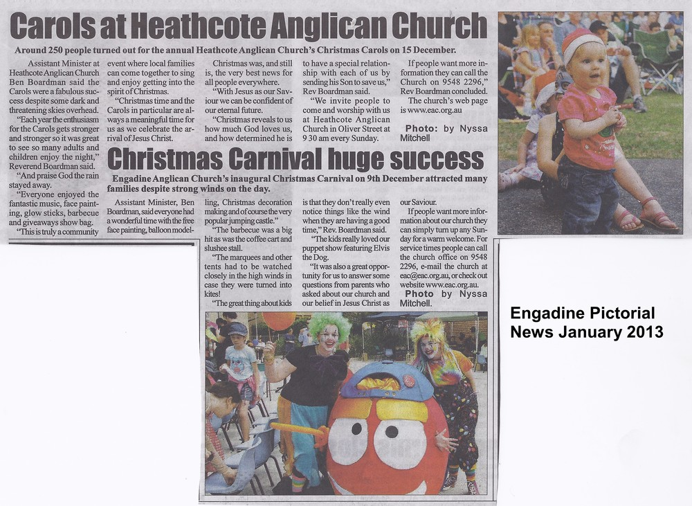 Engadine Pict News Heathcote carols and Kids Carnival Jan 2013.jpg