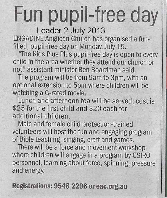 Kids Plus Pupil Free Day Leader July 2013.jpg