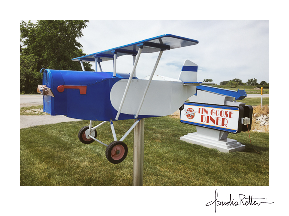 The Tin Goose Diner airplane mailbox in Port Clinton, Ohio.