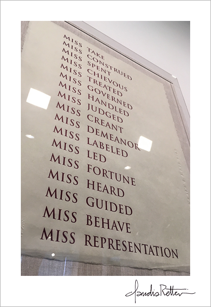 Louise Eastman, Jess Frost, Tara Geer, Katie Michel, Wendy Small, and Janis Stemmermann. Miss 2017. Letterpress. 20 5/8 x 16 1/2 in. Printed by Leslie Miller, published by Planthouse, NY. Edition: 15. Courtesy of Planthouse, NY. © 2017 the artists.