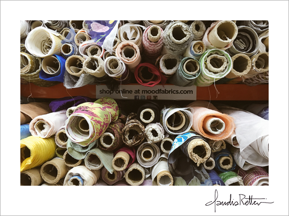 Rolls of fabric at Mood Fabrics
