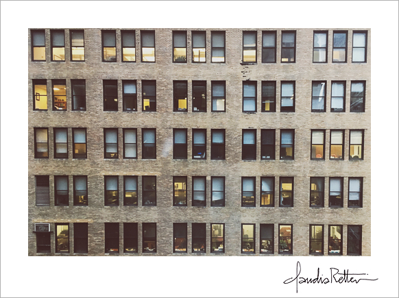 View of building windows. Cityscape.
