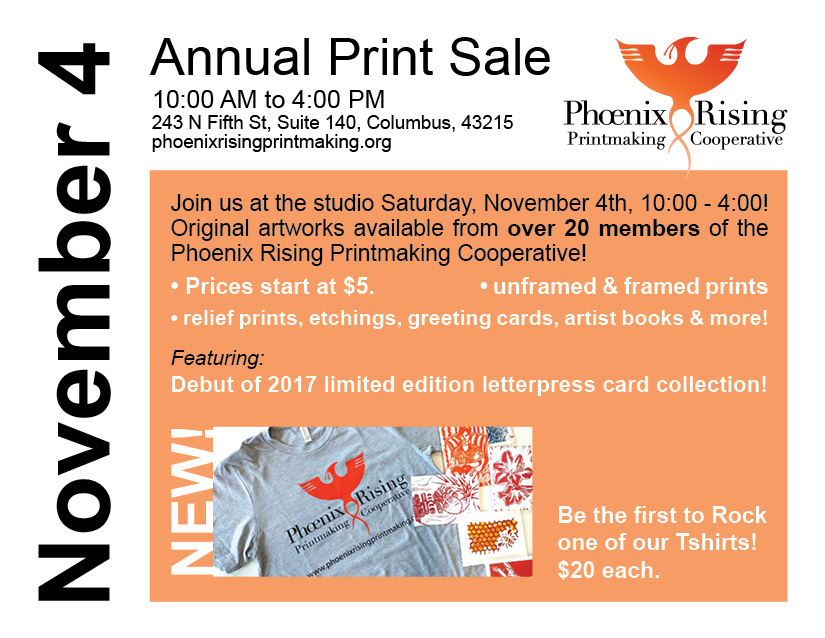 I'll be selling photographs, cards, and my Flying Adventures zine at Phoenix Rising Print Coop's annual print sale - SATURDAY, NOV. 4. (click image for details)