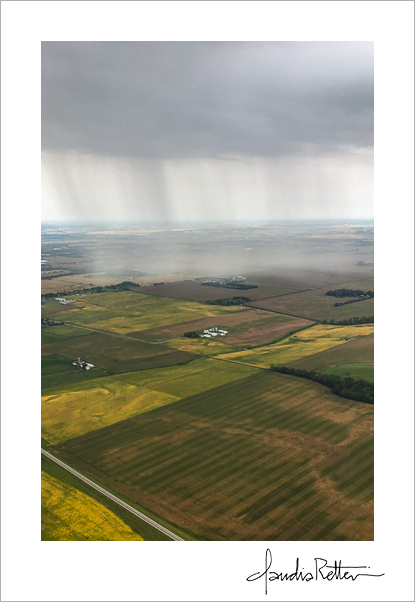Aerial view of the rainshower