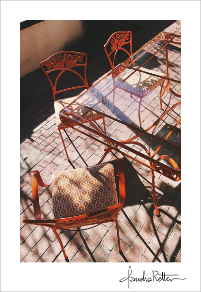 Orange patio table and chairs