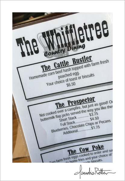 Menu, the Whiffletree, Butler Ohio