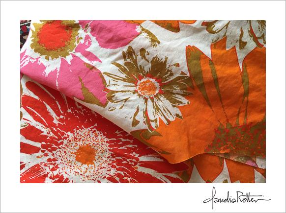 1960's linen print fabric