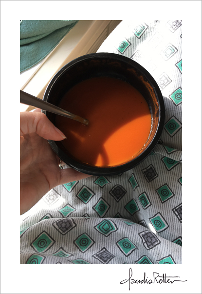 Hospital gown and tomato soup