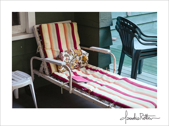 candy-striped chaise