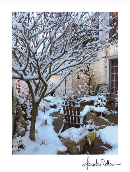 snow in the courtyard