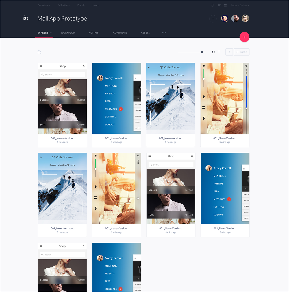 InVision V5 Screen View