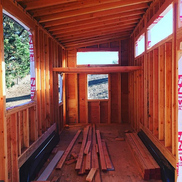 Sleeping loft rafters installed #tinyhouse