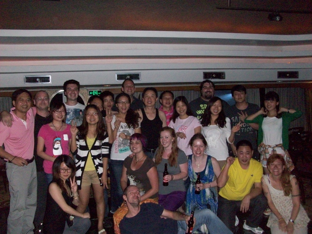 Here is the photo taken by Brian of us with the entire bar on board our river cruise. Strange night but very cool. Note that everyone bar the three tall people at the back (Riley, Alex, Me) are stood on a small podium whilst we are on the floor! Sent from my iPad