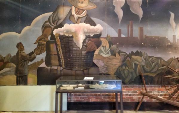 Felix Gaines mural, still vibrant, but in need of repair