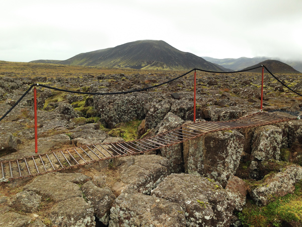 The hike to the volcano was across a lava field filled with lava tube caves and fissures - one side belonging to Europe and one side North America.