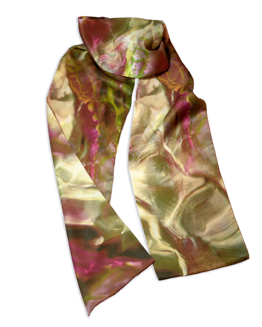 "Persian Rose Silk Scarf 7""x72"" on 12mm silk charmeuse"