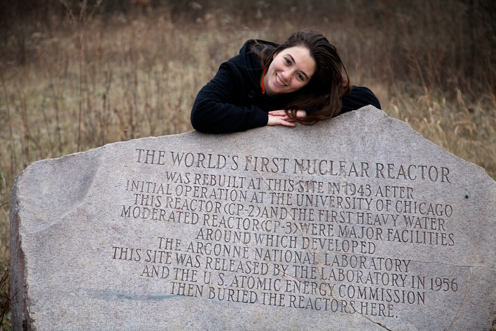 Family portraits at the burial site of the world's first nuclear reactor, CP-1 (also known as CP-2) and the first heavy water moderated reactor, CP-3 (1/2)