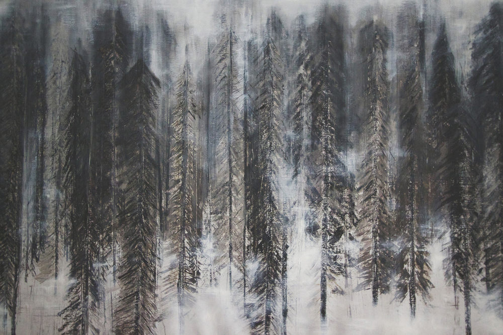 Fog, 2013. Oil + charcoal on canvas. 54X81 inches. Exhibited at Hatch Gallery, Oakland, CA. Placed in Private Collection 2016.