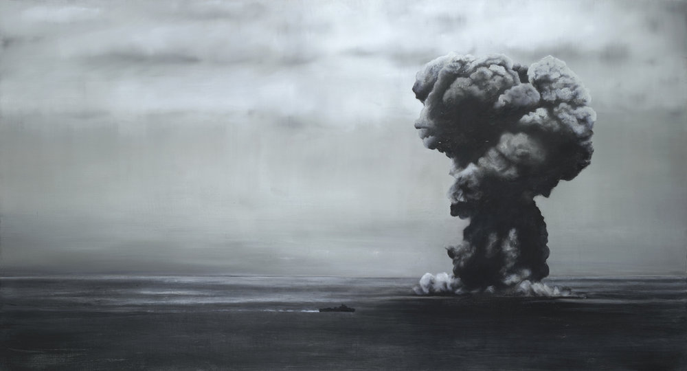 Battleship Yamato Sunk by U.S. Navy Planes, East China Sea 17 April 1945. 2016-17. Oil on Wood. 45X84 inches. Giclee Prints Available.