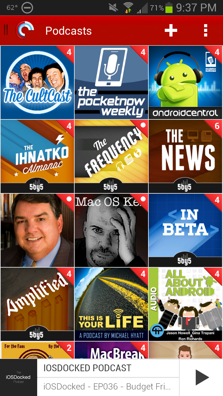 Pocket Casts 4 Library Grid
