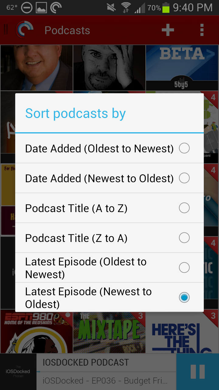 Pocket Casts 4 Sort Podcasts