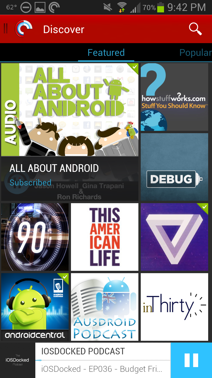 Pocket Casts 4 Discovery