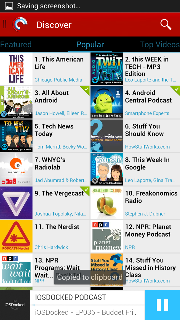 Pocket Casts 4 Popular