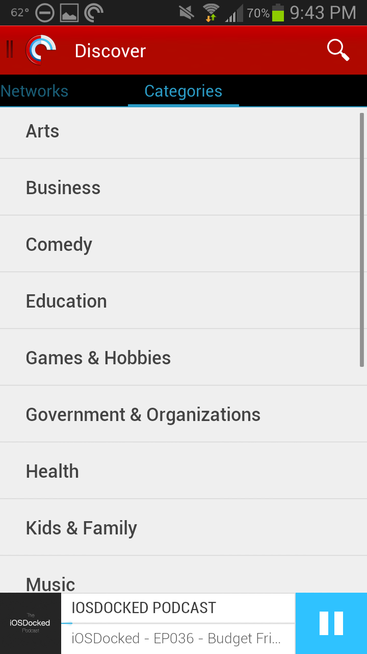 Pocket Casts 4 Categories