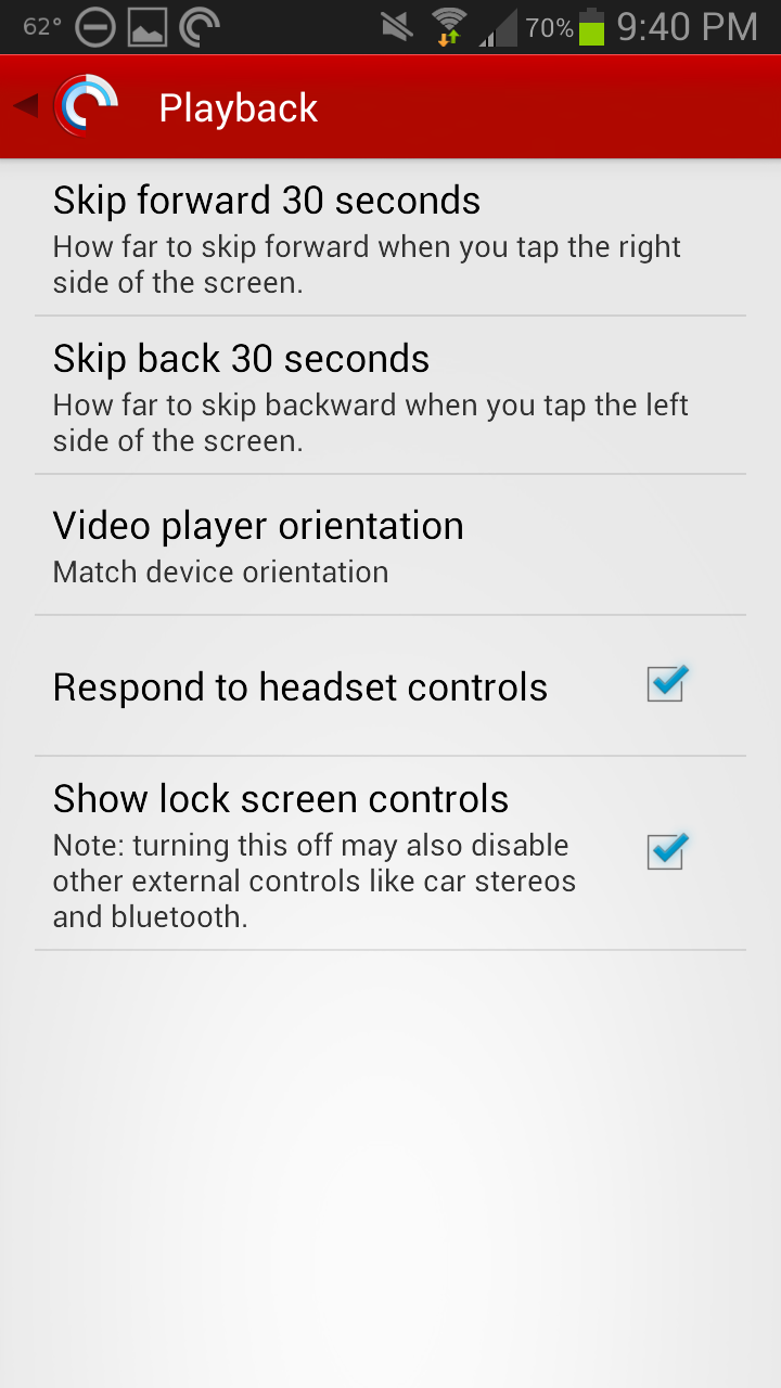 Pocket Casts 4 Playback Settings