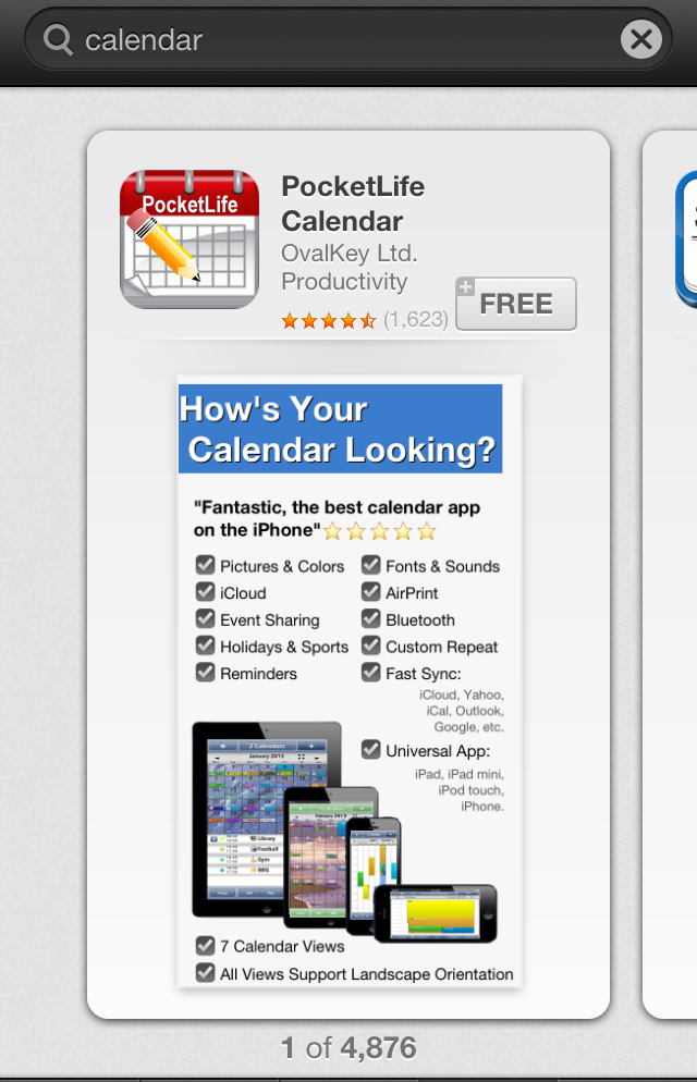 "App Store search results for ""Calendar"""