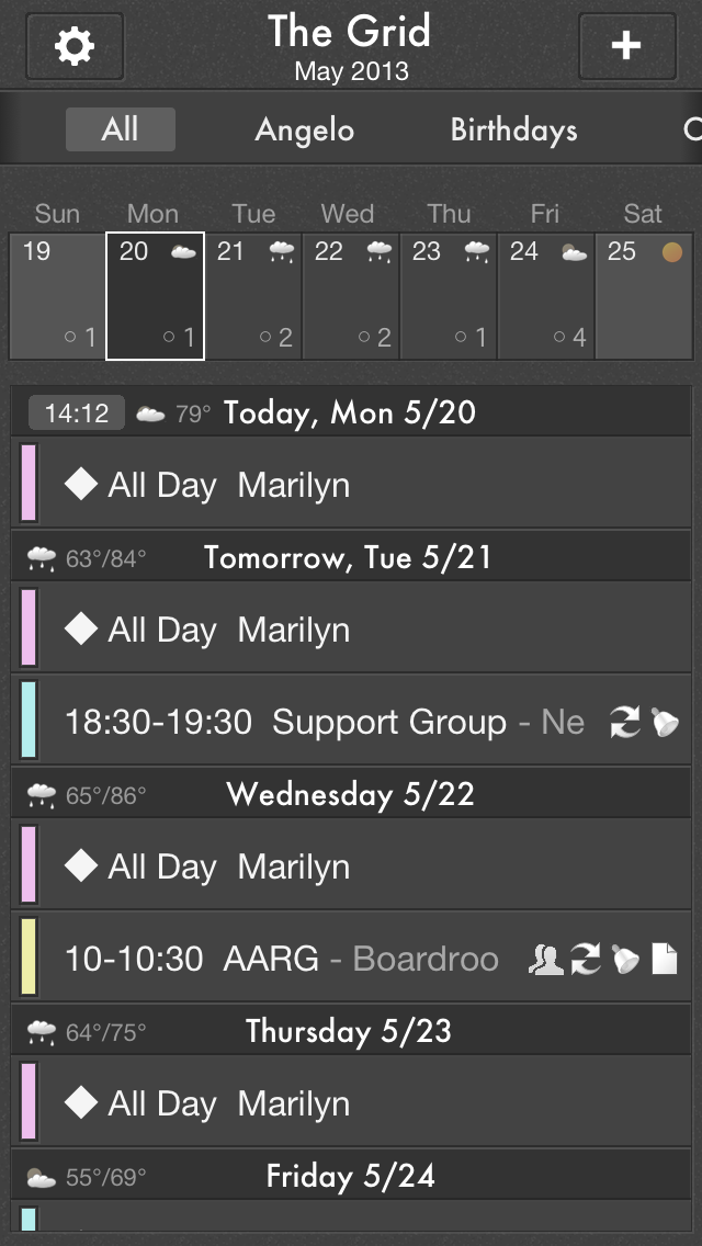 The Grid Calendar offers two viewing options: Month view and Week Ribbon* view. You can see the month and events scheduled. Swiping left to right will change the month. Tapping the month will give you the options to search for an event, be taken to the now or jump to a different month. Week Ribbon displays 7 days and is accessed by swiping down on the calendar. Week Ribbon view only displays the events scheduled for the selected week. *A 7 day weather forecast is also available.
