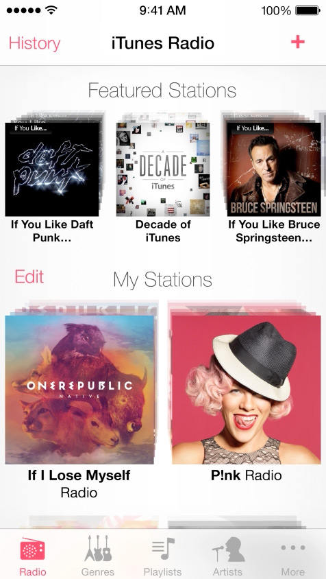 iTunes Radio  - New streaming radio service will be free with ads for everyone on iOS 7. iTunes Match subscribers will get ad free radio.