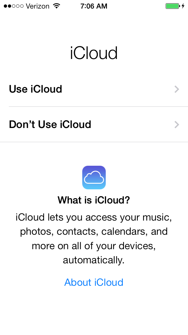 Using iCloud will allow calendar, contact and document syncing.  iCloud will also auto back up your device.  Enabling is recommended.