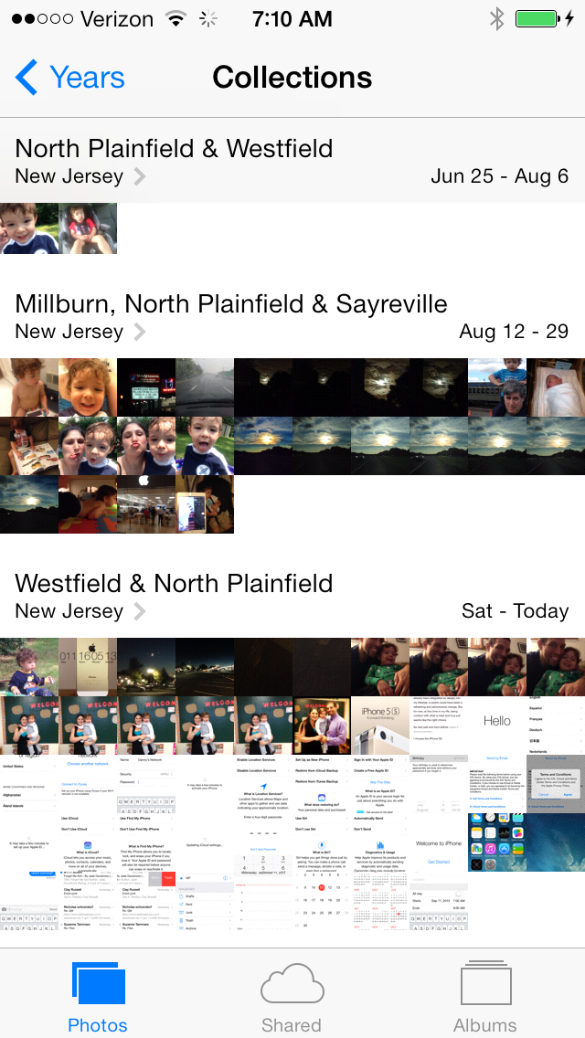 Photos are grouped into Collections (Date) Moments, and Year