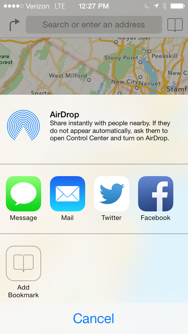 Sharing options.  I will go over AirDrop later.