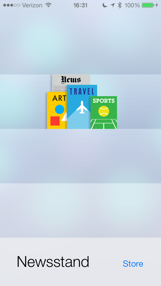 Newsstand - Side note - App can now be placed into a folder.