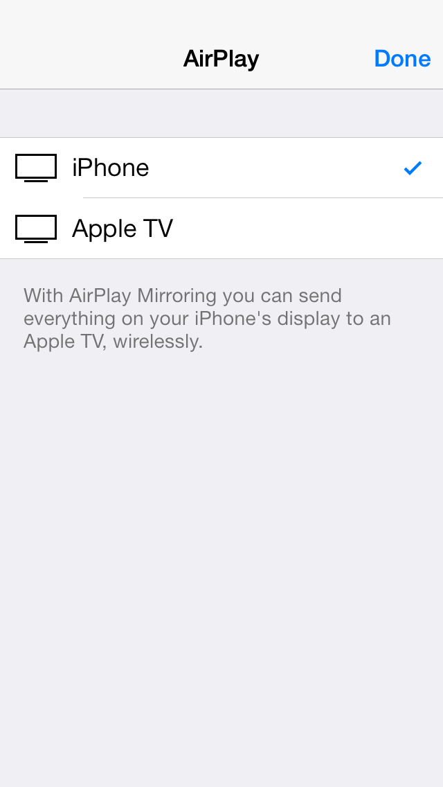AirPlay via Control Center