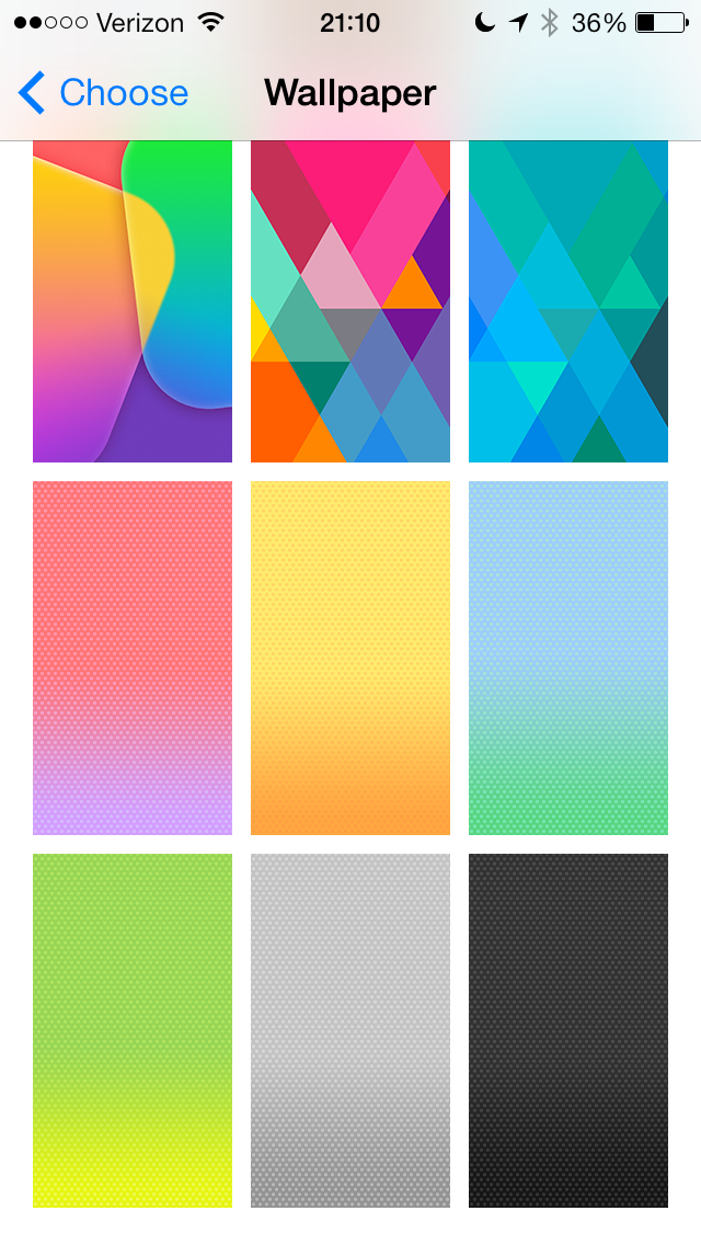 The bottom six wallpapers will be the default wallpaper to match the color of the iPhone 5c.