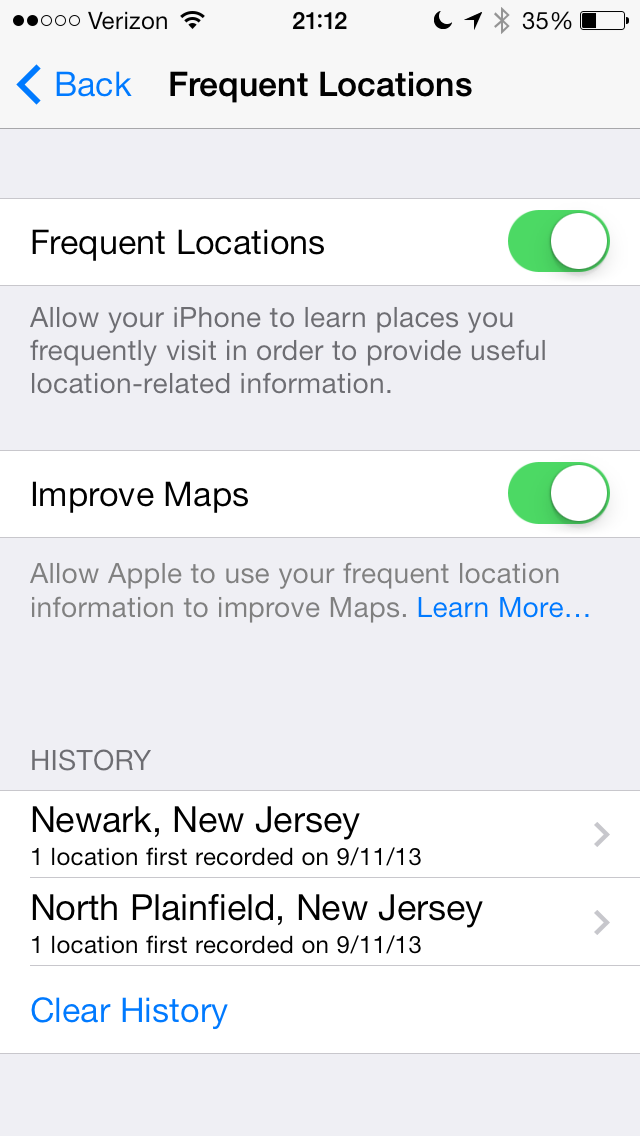 iPhone can learn the places you visit the most. This setting will provide you with location related information.