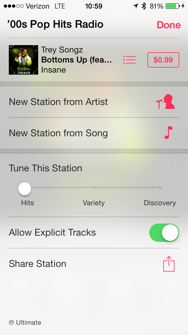 Tuning options under a User Created Station