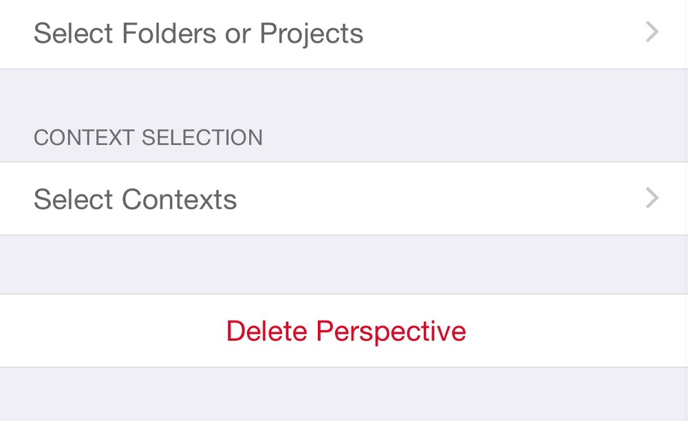 "On the selection of Folders, Projects and Contexts, I selected ""None""."