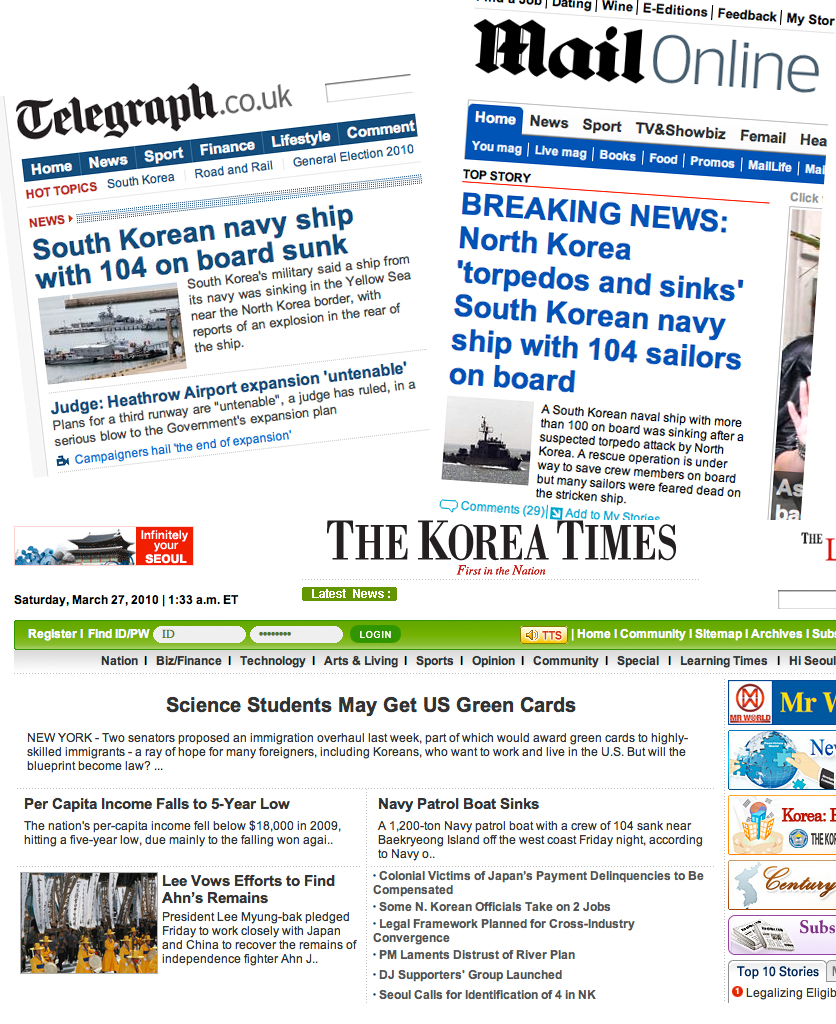 The breaking news here in Korea is the sinking of the naval vessel. But you wouldn't think it was particularly 'hot' news here in Korea. While the British media quite rightly take it very seriously, it seems that Korean science students possibly getting a visa to work in the US is more important. With the possible death of over 50 Korean sailors, I am pretty sure that the parents of those young men probably don't care about science students from Korea getting Green Cards to the US.