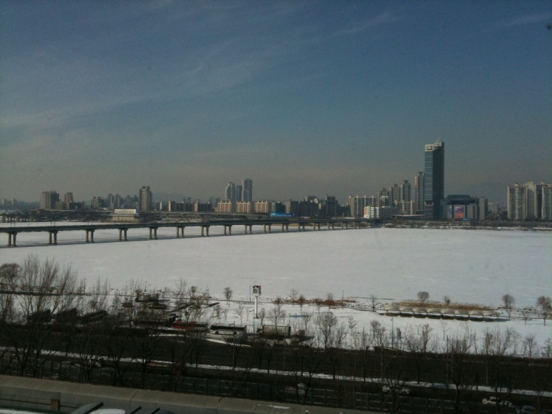 Han River looks awesome with the snow and ice resting on the surface. Somehow, I always find winter scenes look so stunning, with their purity and simplicity. Sent from my iPhone
