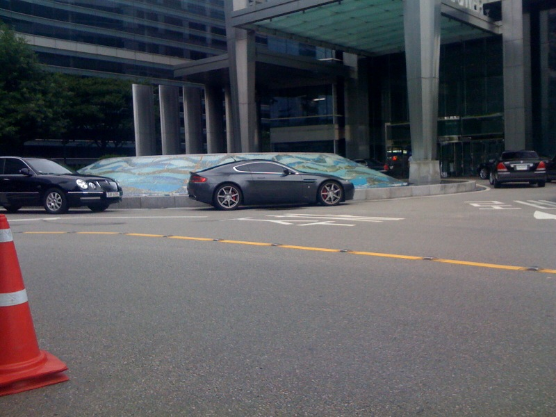 Ok, so I shot this with my iPhone. But it is SO rare to see an Aston Martin in Korea.   The model shown is an Aston Martin vantage. The cheapest Aston, but gorgeous all the same and with that heavenly Aston Martin sound.   Sent from my iPhone