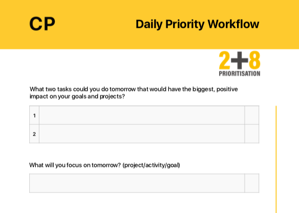 [NEW] The 2+8 Prioritisation Worksheet - Use this workflow as part of your Golden Ten to really focus in on what is important to you.