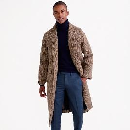 Unconstructed Irish herringbone tweed topcoat