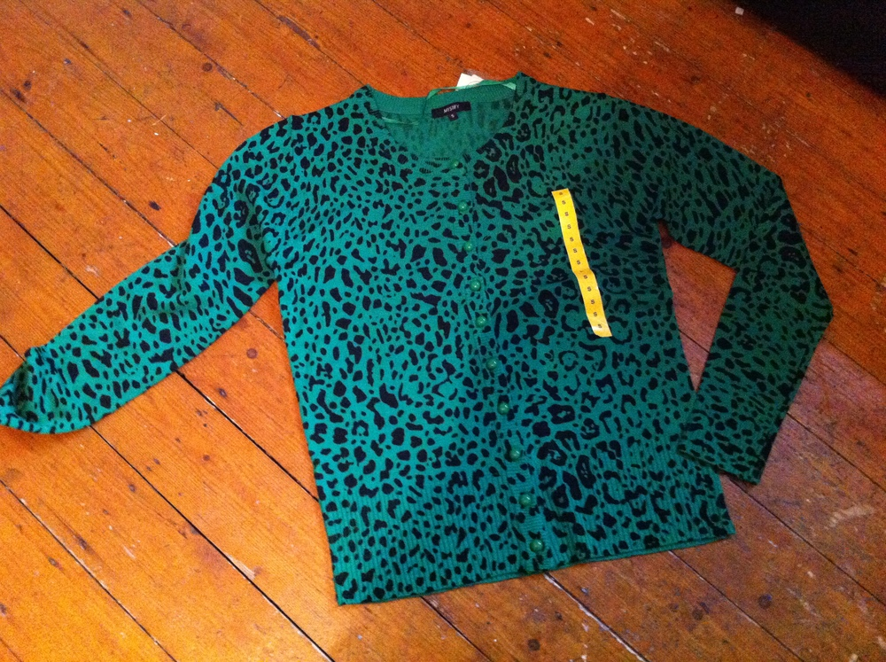 Rockabilly Bargain- Green Leopard Print Cardigan from Heaton's ...