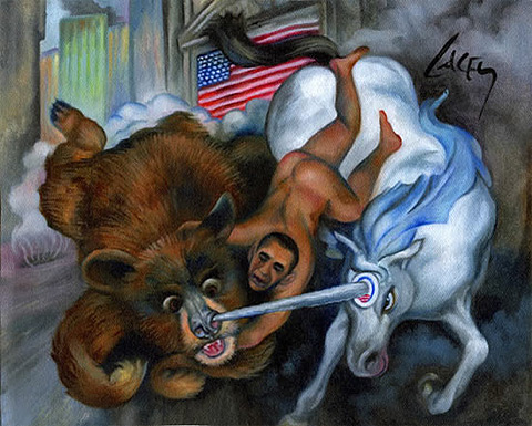 Naked Obama on His Victory Unicorn- Dan Lacey, Obviously.