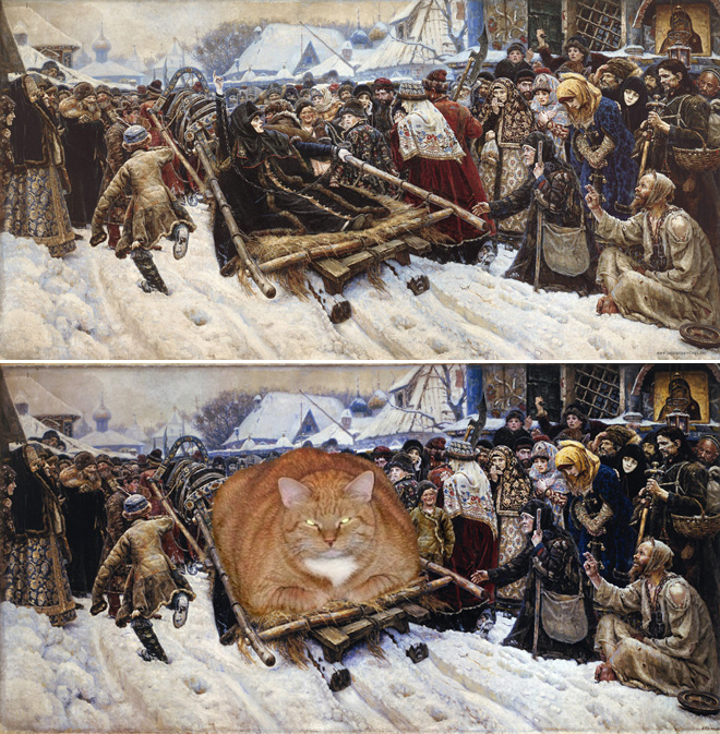 Famous Paintings get Art-Bombed by a Fat, Ginger Cat